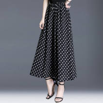 Casual pants Black wave point [elastic waist] M suggests 90-105 kg, l 106-115 kg, XL 116-125 kg, 2XL 126-135 kg, 3XL 136-145 kg, 4XL 146-160 kg Summer 2020 Ninth pants Wide leg pants High waist Versatile 0628X131884456235 Other / other printing and dyeing