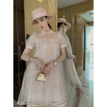 Dress Summer 2020 Light pink sequins S, M Mid length dress singleton  Short sleeve commute Doll Collar Loose waist Solid color A button A-line skirt puff sleeve 25-29 years old Type A Ol style Bright silk, open back, hook flower, hollow out, splicing, nail bead, Sequin, gauze net, lace