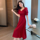 Dress / evening wear Party, daily appointment S M L Red and black Korean version Medium length High waist Spring 2021 18-25 years old M7155 Short sleeve Solid color Mo Xue routine Polyester 100% Pure e-commerce (online only)
