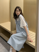Dress Other / other Sky blue strap skirt + modal white T, sky blue strap skirt Average size Korean version elbow sleeve have more cash than can be accounted for summer Crew neck Solid color