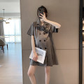 Dress Other / other grey M,L,XL Short sleeve Medium length summer V-neck Solid color Pure cotton (95% and above) WS009696