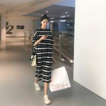 Dress Other / other Striped skirt M,L,XL,XXL,XXXL Korean version Short sleeve Medium length summer Crew neck stripe Pure cotton (95% and above)