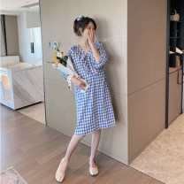 Dress Other / other Blue and white check M,L,XL Short sleeve Medium length summer V-neck lattice Pure cotton (95% and above)