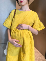 Dress Other / other Yellow, blue M,L,XL,XXL Korean version Short sleeve Medium length summer Crew neck Solid color Pure cotton (95% and above)