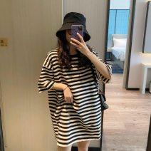 T-shirt Crew neck M. L, XL, XXL, XXXL, increase XXXL Other / other Black and white stripes Short sleeve summer Korean version Medium length stripe routine