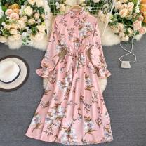Dress Autumn 2020 White, pink, blue, black Average size longuette singleton  Long sleeves commute stand collar High waist Decor Socket A-line skirt puff sleeve Others 18-24 years old Type A Other / other 31% (inclusive) - 50% (inclusive) other other