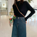 skirt Spring 2020 XS,S,M,L,XL Retro Blue spot, fashionable black spot, Retro Blue pre-sale Mid length dress Sweet High waist Denim skirt Solid color 18-24 years old More than 95% Denim cotton