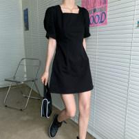 Women's large Summer 2020 black S [80-90 Jin], m [90-105 Jin], l [105-120 Jin], XL [120-135 Jin], 2XL [135-150 Jin], 3XL [150-165 Jin], 4XL [165-180 Jin] Dress singleton  commute Short sleeve Solid color Korean version square neck puff sleeve NGQM020601105 31% (inclusive) - 50% (inclusive)