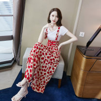 Dress Summer 2021 S M L XL longuette Two piece set Short sleeve commute Crew neck High waist Decor Socket A-line skirt routine 25-29 years old Type A Su Ye Korean version printing More than 95% Chiffon other Other 100% Pure e-commerce (online only)