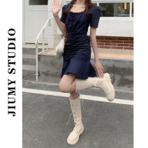 Dress Summer 2021 dark blue M,L,XL,2XL,3XL,4XL Middle-skirt singleton  Short sleeve commute square neck Solid color Socket A-line skirt routine Others 18-24 years old Type A Retro Tuck, fold, button other