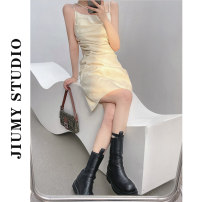 Dress Summer 2021 Apricot, black S,M,L Short skirt singleton  Sleeveless street One word collar High waist Solid color Socket A-line skirt routine camisole 18-24 years old 71% (inclusive) - 80% (inclusive) other Europe and America
