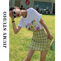T-shirt White T-shirt 4106, Black Plaid Skirt, blue plaid skirt, yellow plaid skirt, green plaid skirt, pink plaid skirt S,M,L,XL Summer 2021 Short sleeve Crew neck easy Regular routine commute other 71% (inclusive) - 85% (inclusive) 18-24 years old Korean version originality