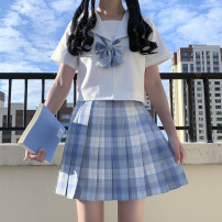 student uniforms Summer 2021 White no book short sleeve top, white no book long sleeve top, ice cream plaid skirt with bow tie S,M,L,XL,2XL Short sleeve solar system skirt Under 17 polyester fiber 81% (inclusive) - 90% (inclusive)