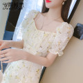 Dress Summer 2021 Picture color S M L XL Mid length dress singleton  Short sleeve commute square neck High waist Decor Socket A-line skirt puff sleeve Others 25-29 years old Type A Yu Wei's love Korean version More than 95% other Other 100% Pure e-commerce (online only)