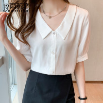 Lace / Chiffon Summer 2021 Short sleeve commute Condom singleton  easy Regular Polo collar Solid color routine 25-29 years old Yu Wei's love YWL52013502 Pleated button Korean version Other 100% Pure e-commerce (online sales only) Pink white S M L XL 2XL