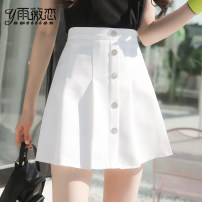 skirt Summer of 2018 S M L XL Short skirt Versatile High waist Pleated skirt Solid color Type A 18-24 years old More than 95% Yu Wei's love other Pleated zipper panel Other 100% Pure e-commerce (online only)