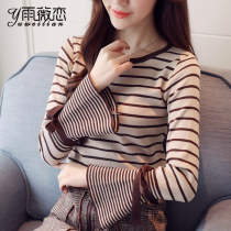 Wool knitwear 2XLSMLXL Fall of 2018 Apricot 156 Pink 156 White 6361 Pink 6361 White 6370 Pink 142 Caramel 142 Black 142 Yellow 142 Brown 142 White White Black Long sleeve Sleeve Conventional models Single conventional Commuting Self-cultivation Horn sleeve stripe Low round neck Korean version Sleeve