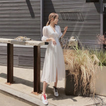 Dress Summer 2021 Temperament white S M L XL longuette singleton  elbow sleeve commute V-neck 18-24 years old Yilian products YL0000051 51% (inclusive) - 70% (inclusive) cotton Cotton 69.2% rayon 30.8%