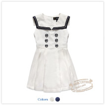 Dress Off white, Navy, green, pink, blue, white, gray, pink 1, pink 2, Navy 1, Navy 2, Navy 3, off white 1, green 1, white 3, white 4, Navy 4 female E·LAND KIDS 110cm,120cm,130cm,140cm,150cm,155cm Cotton 100% summer college Skirt / vest Solid color Pure cotton (100% cotton content) Pleats