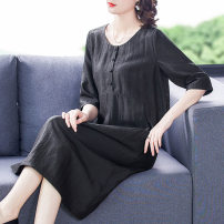 Women's large Summer 2021 black XL 2XL 3XL 4XL 5XL L Dress singleton  commute easy moderate Socket Short sleeve Solid color Simplicity Crew neck Three dimensional cutting routine Fine posture 40-49 years old longuette Other 100% Pure e-commerce (online only)