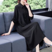 Women's large Spring 2021 black L XL 2XL 3XL 4XL Dress singleton  commute easy moderate Socket Long sleeves Solid color lady Polo collar Medium length Three dimensional cutting routine G21148 Fine posture 40-49 years old Button longuette Other 100% other