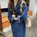 Dress Autumn 2020 Denim dress 1=S,2=M,3=L,4=XL Mid length dress singleton  Long sleeves commute Solid color Single breasted routine Type H Korean version Denim