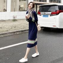 Dress Autumn 2020 blue 1=S,2=M,3=L,4=XL Mid length dress singleton  Long sleeves commute Crew neck High waist Socket Pencil skirt routine Others Retro 91% (inclusive) - 95% (inclusive) knitting