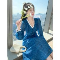 Women's large Spring 2021 Blue dress 1 = s, 2 = m, 3 = L, 4 = Large XL Dress singleton  commute Self cultivation moderate Socket Long sleeves Korean version V-neck raglan sleeve longuette other