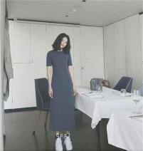 Dress Summer of 2019 Black, khaki, navy S,M,L,XL longuette singleton  Short sleeve commute Crew neck Loose waist Solid color A-line skirt 30-34 years old Korean version JJ-1058 31% (inclusive) - 50% (inclusive) knitting other