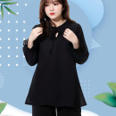 Women's large Summer 2020 XL 2XL 3XL 4XL 5XL 6XL T-shirt singleton  commute easy moderate Socket Long sleeves Solid color Simplicity V-neck Medium length polyester Three dimensional cutting pagoda sleeve Qianlitong 30-34 years old 96% and above Polyester 100% Pure e-commerce (online only)