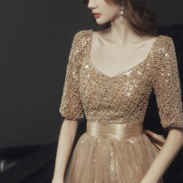 Dress / evening wear Weddings, adulthood parties, company annual meeting, performance date Customized XS S M L XL XXL Yxsz201002 rose gold fashion longuette middle-waisted Winter 2020 Fluffy skirt U-neck Bandage 18-25 years old YXSZ201002 Solid color Ishowentry Other 100%