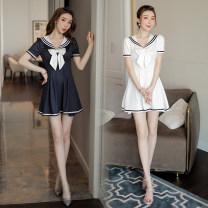 Dress Summer 2020 White blue S M L XL XXL XXXL Short skirt Solid color Socket 25-29 years old Gorgeous Princess T1278 81% (inclusive) - 90% (inclusive) polyester fiber Polyethylene terephthalate (PET) 90% polyurethane elastic fiber (spandex) 10%