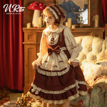 Dress Winter 2020 Little red cap suit (jsk + CAPE) without inside little red cap jsk skirt (single piece without inside) little red cap Cape (single piece) S M L Middle-skirt Three piece set Sweet middle-waisted Solid color 18-24 years old urtto Little Red Riding Hood More than 95% polyester fiber