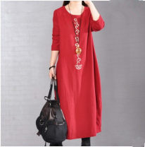 Dress Fall 2017 Red, black M [about 115 kg], l [about 115-130 kg], XL [about 130-145 kg], XXL [about 145-165 kg] Mid length dress singleton  Long sleeves commute Crew neck Loose waist Solid color Socket other other Others Type H Korean version Pocket, print 51% (inclusive) - 70% (inclusive) cotton