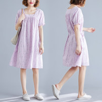 Dress Summer 2020 lilac colour M [suggested 100-115 kg], l [suggested 115-130 kg], XL [suggested 130-140 kg], 2XL [suggested 140-150 kg], 3XL [suggested 150-160 kg] Mid length dress singleton  Short sleeve commute square neck Decor pagoda sleeve Type A literature S0502X cotton