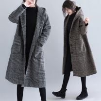 Women's large Winter 2020, autumn 2020 Hagrid, coffeehouse L [recommended 100-130 kg], XL [recommended 130-160 kg], 2XL [recommended 160-200 kg] woolen coat singleton  commute Straight cylinder moderate Cardigan Long sleeves lattice literature Hood Medium length polyester routine H0907T