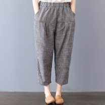 Women's large Summer 2021 grey M [recommended 100-120 kg], l [recommended 120-140 kg], XL [140-160 Jin recommended], 2XL [160-180 Jin recommended], 3XL [180-200 Jin recommended] trousers singleton  commute easy moderate stripe literature polyester Three dimensional cutting W0430 Ninth pants