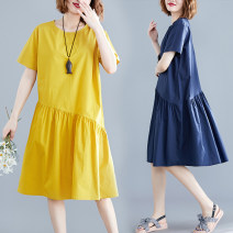 Women's large Summer 2020 Yellow, Navy L [recommended 100-130 kg], XL [recommended 130-160 kg] Dress singleton  commute easy moderate Socket Short sleeve Solid color literature Crew neck polyester routine M0522 51% (inclusive) - 70% (inclusive) Medium length