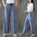 Women's large Spring 2021, summer 2021 Blue bar trousers singleton  commute Straight cylinder moderate stripe literature Polyester, cotton Three dimensional cutting 31% (inclusive) - 50% (inclusive) Ninth pants