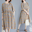 Women's large Summer 2020 Picture color Large size average size [100-200kg recommended] Dress singleton  commute easy moderate Socket Short sleeve Broken flowers literature Crew neck Polyester, cotton routine S0618 pocket 31% (inclusive) - 50% (inclusive) Medium length