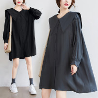 Women's large Spring 2021 Black, greyish green Average size [recommended 120-260 kg] Dress singleton  commute easy moderate Cardigan Long sleeves Solid color literature Admiral polyester fiber Three dimensional cutting shirt sleeve 51% (inclusive) - 70% (inclusive) Middle-skirt