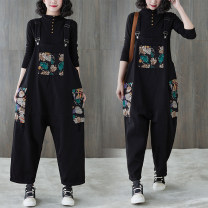 Women's large Spring 2021 black M [recommended 100-130 kg], l [recommended 130-160 Jin], XL [160-190 Jin], 2XL [190-220 Jin recommended] Jeans singleton  commute easy moderate Conjoined Sleeveless Plants and flowers literature polyester Three dimensional cutting S0109W pocket trousers