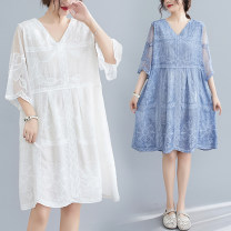 Dress Summer 2020 White, blue Average size [recommended 100-160 kg] Mid length dress singleton  elbow sleeve commute V-neck Loose waist Solid color Ruffle Skirt pagoda sleeve literature Lace stitching 51% (inclusive) - 70% (inclusive)
