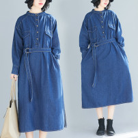 Women's large Spring 2021 blue M [recommended 100-125 kg], l [recommended 125-150 kg], XL [recommended 150-175 kg], 2XL [recommended 175-200 kg] Dress singleton  commute easy moderate Socket Long sleeves Solid color literature stand collar Denim shirt sleeve T1126 belt Medium length
