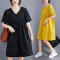 Women's large Summer 2021 Average size [recommended 100-220 kg] Dress singleton  commute easy thin Socket Short sleeve Solid color literature V-neck Polyester, cotton routine S0326W 31% (inclusive) - 50% (inclusive) Medium length