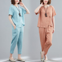 Women's large Summer 2021 M [recommended 100-125 kg], l [recommended 125-150 kg], XL [recommended 150-175 kg], 2XL [recommended 175-200 kg] Other oversize styles Two piece set commute easy moderate Socket Short sleeve Solid color literature Crew neck routine polyester Three dimensional cutting W0314W