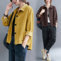Women's large Spring 2021 Brown, yellow M [suggested 100-130 kg], l [suggested 130-160 kg], XL [suggested 160-190 kg], 2XL [suggested 190-230 kg] Jacket / jacket singleton  commute easy moderate Cardigan Long sleeves Solid color literature stand collar Polyester, cotton Three dimensional cutting