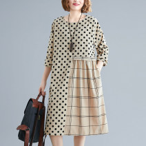Women's large Spring 2021 L [recommended 100-130 kg], XL [recommended 130-160 kg] Dress singleton  commute easy thick Socket Long sleeves Dot, grid literature Crew neck Medium length polyester printing and dyeing routine pocket 31% (inclusive) - 50% (inclusive) Medium length Irregular skirt
