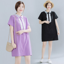 Women's large Summer 2020 Purple, yellow, black Dress singleton  commute easy thin Socket Short sleeve Solid color literature Polo collar Polyester, cotton routine Lace stitching 31% (inclusive) - 50% (inclusive) Middle-skirt