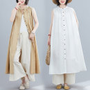 Women's large Summer 2021 Khaki, white, blue Average size [recommended 120-260 kg] Dress singleton  commute easy moderate Cardigan Sleeveless Solid color literature Crew neck polyester Three dimensional cutting H0501GW 51% (inclusive) - 70% (inclusive) longuette